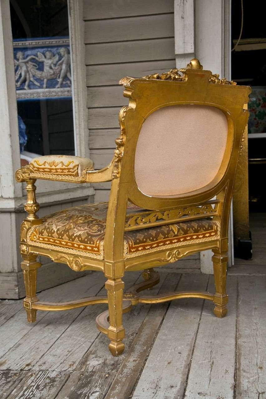 Louis Xvi Style 3 Piece Gilded Salon Set At 1stdibs
