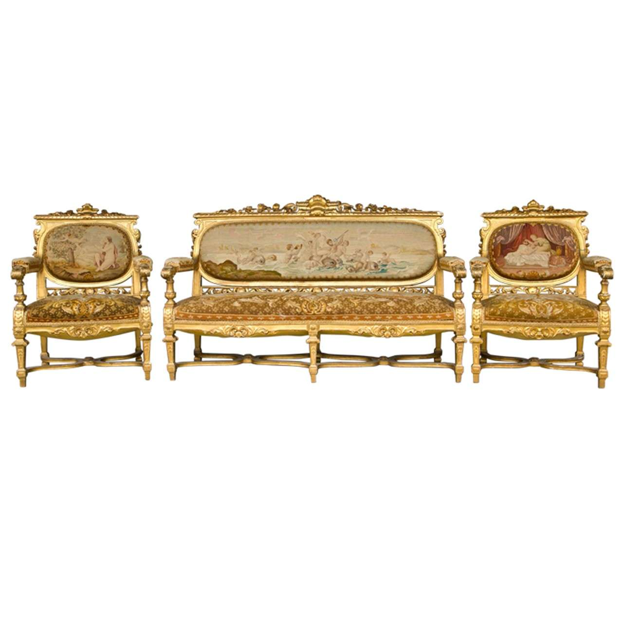 Louis xvi style 3 piece gilded salon set at 1stdibs for Salon 3 pieces