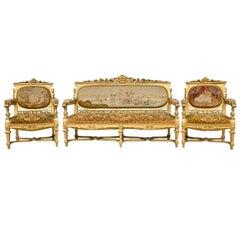 Louis XVI Style   3  Piece Gilded Salon Set