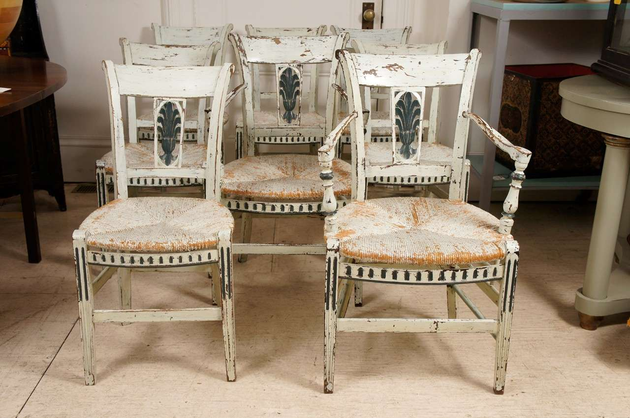 8 french provincial green painted dining room chairs image 2 for French dining room furniture