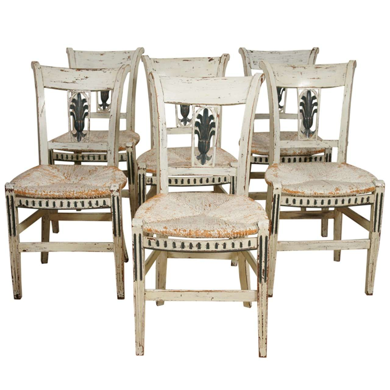8 french provincial green painted dining room chairs for Painted dining room furniture