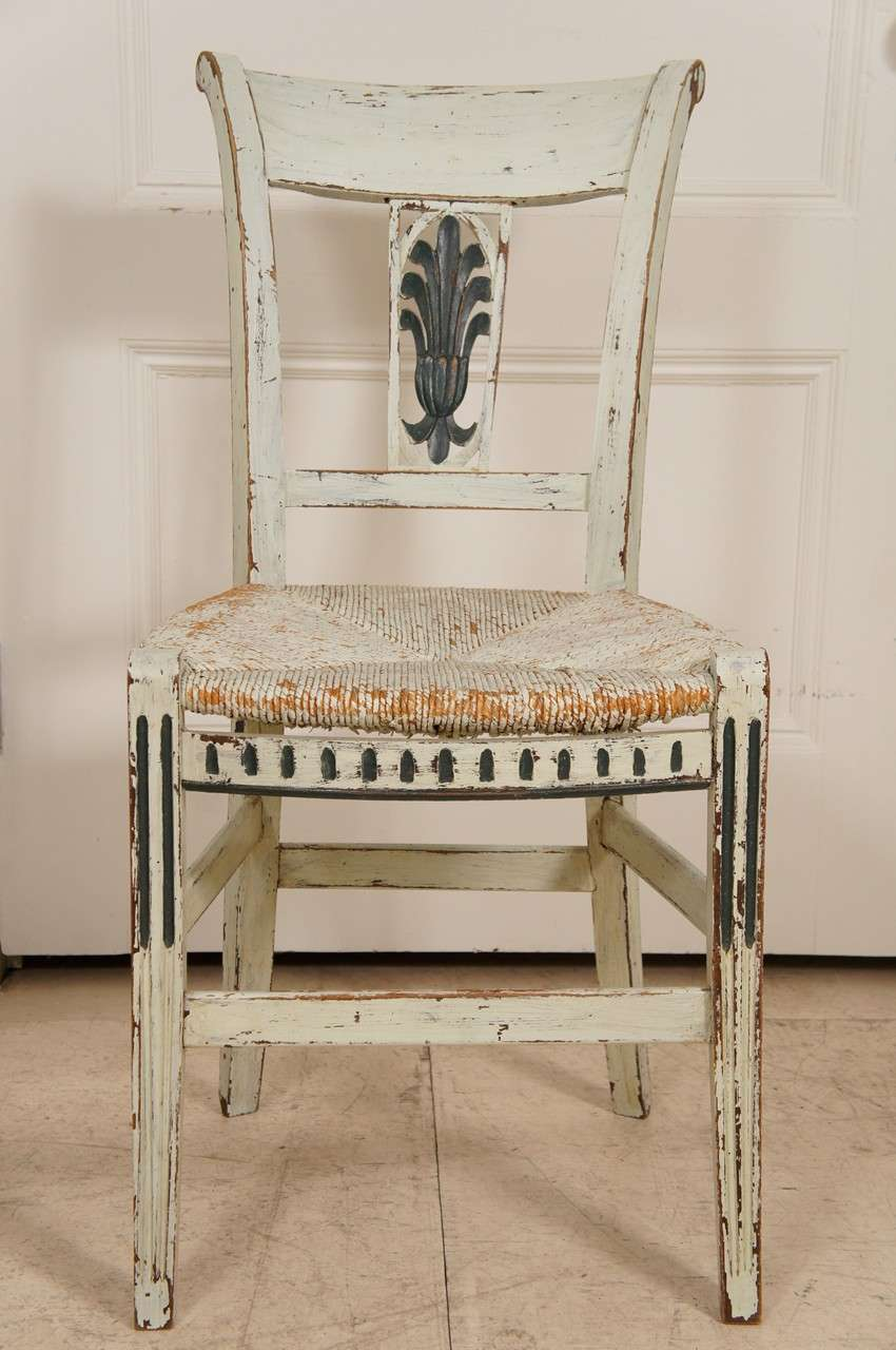 8 french provincial green painted dining room chairs at