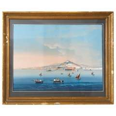 19th Century Grand Tour Gouache of Capri