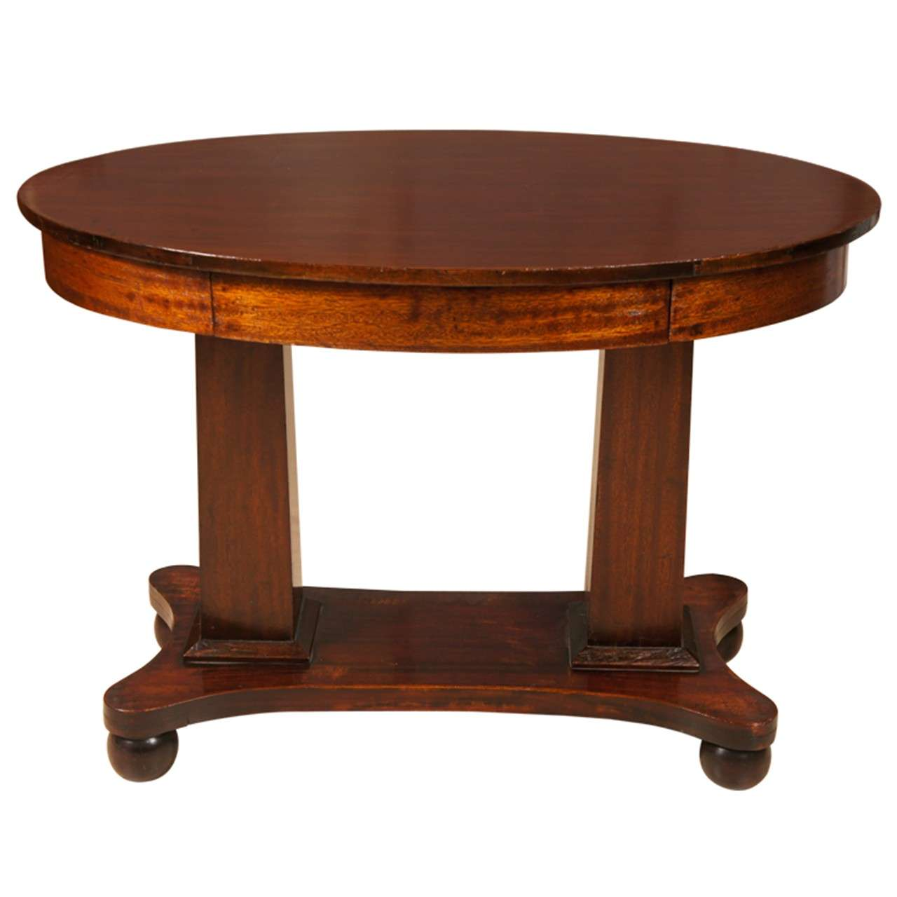 Empire mahogany pillar and scroll table with one drawer for Table th scroll