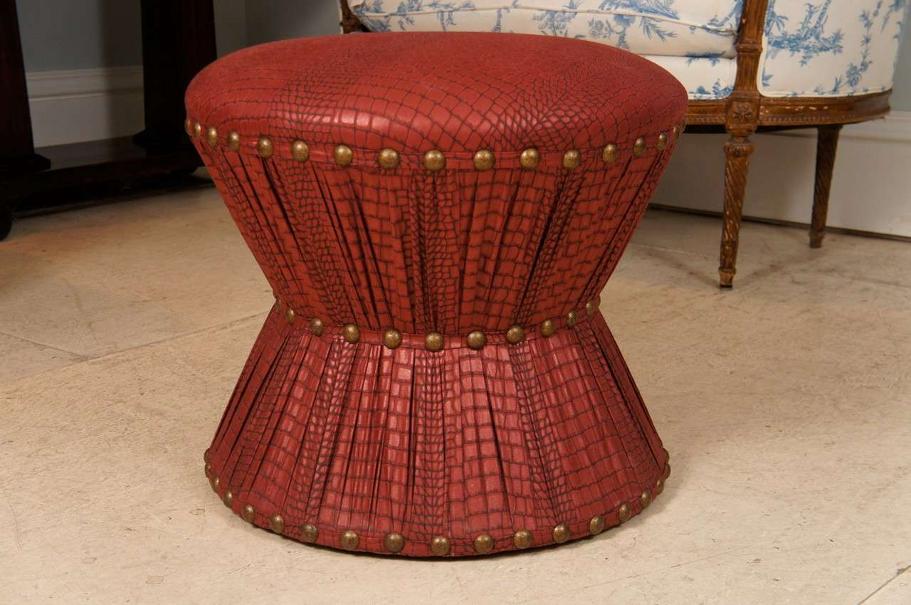 Hourglass Stool With Embossed Leather Printed Cotton