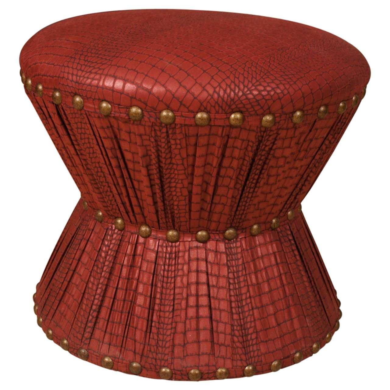 Hourglass Stool with Embossed Leather Printed Cotton Upholstery