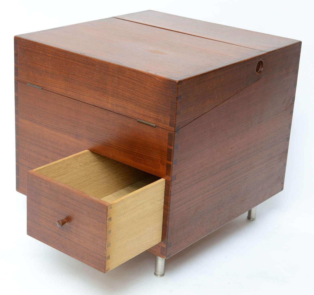 Teak Hans Wegner Cube Bar For Sale
