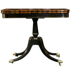 Regency Ebonized and Calamander Wood Card Table