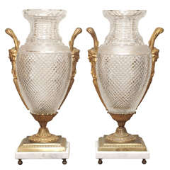 Pair of Gilt Bronze Mounted Bacarrat Vases on Marble Bases