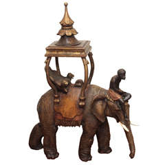 19th c. Venetian Polychromed Carved wood elephant and rider