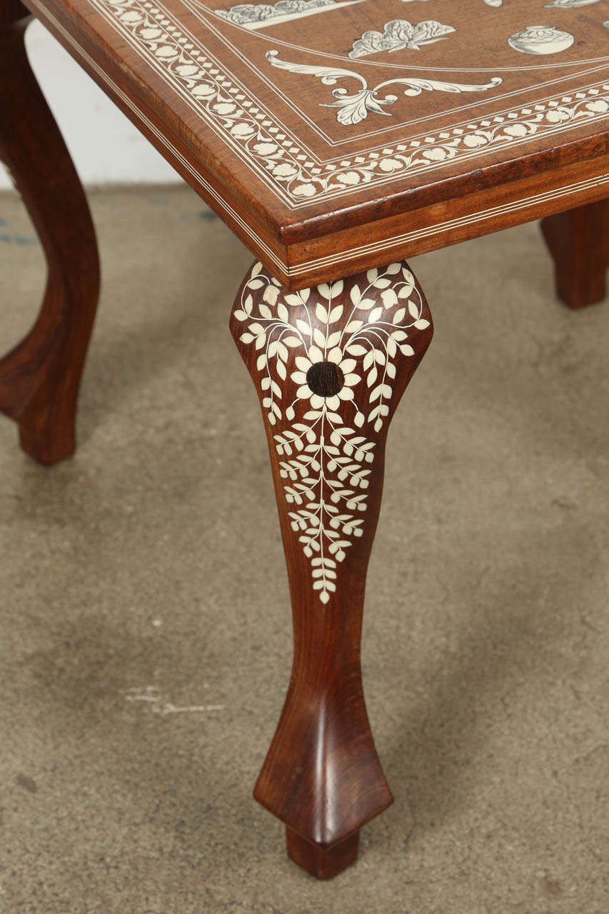 Anglo-Indian Indo Persian Inlaid Square Side Table For Sale