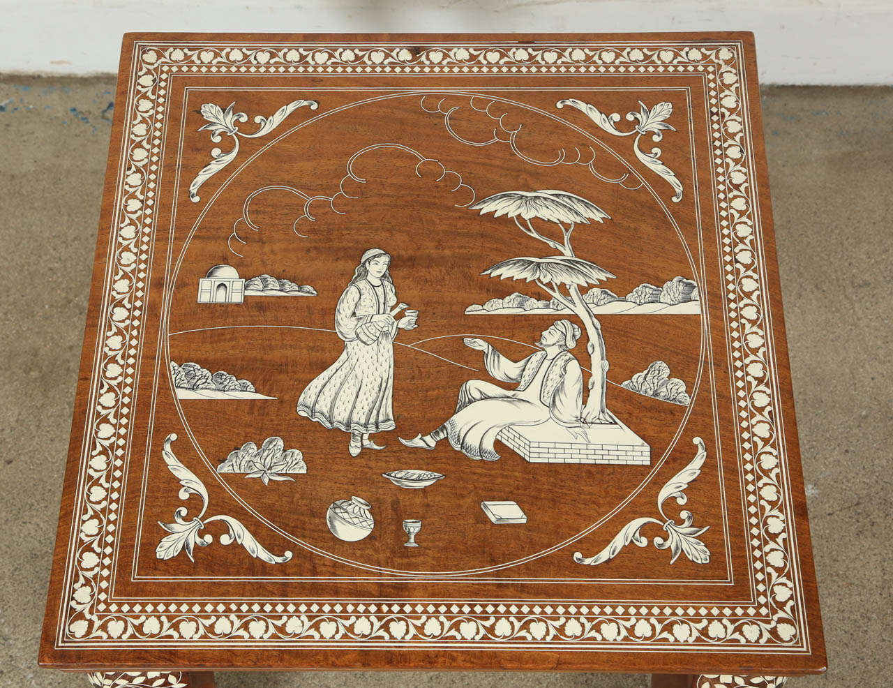Indian Indo Persian Inlaid Square Side Table For Sale