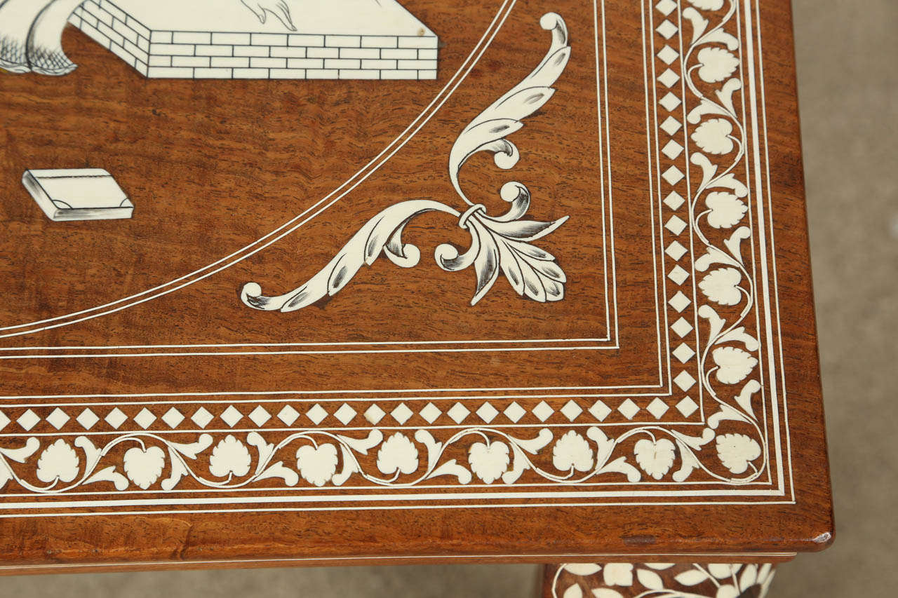 Hand-Crafted Indo Persian Inlaid Square Side Table For Sale