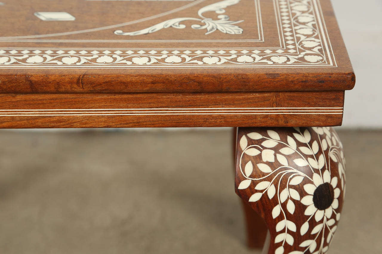 Indo Persian Inlaid Square Side Table In Good Condition For Sale In Los Angeles, CA