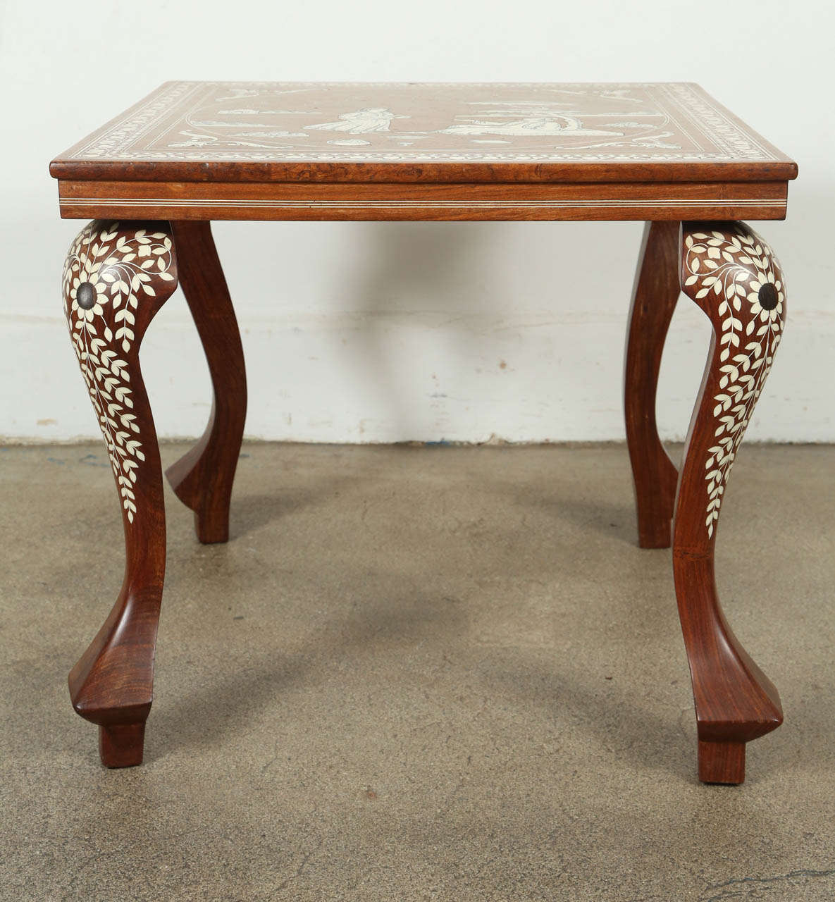 20th Century Indo Persian Inlaid Square Side Table For Sale