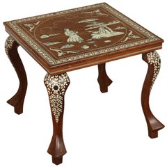 Middle Eastern Moorish Teak Inlaid Square Side Table