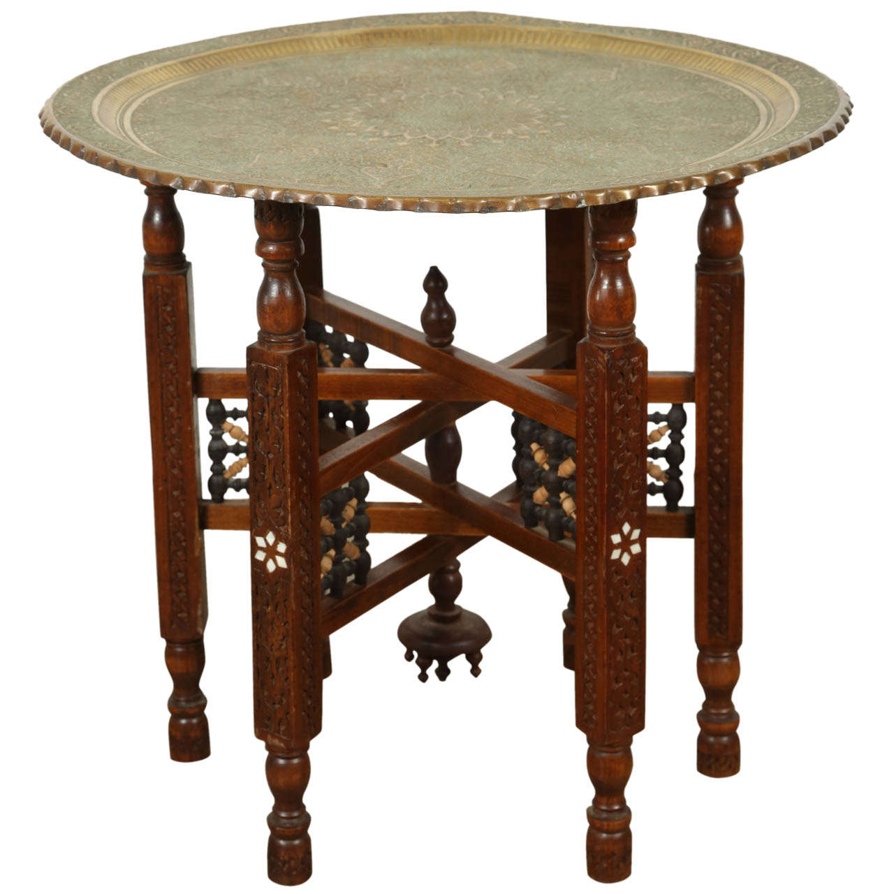Antique persian brass tray side table at 1stdibs for Tray side table