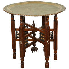 Antique Persian Brass Tray Side Table