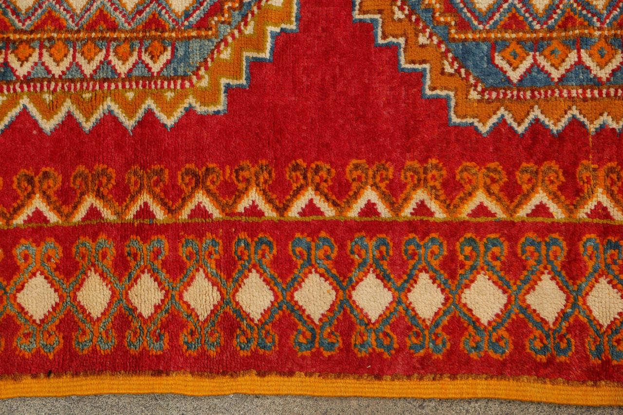 Hand-Woven Vintage Moroccan Orange Tribal Rug For Sale