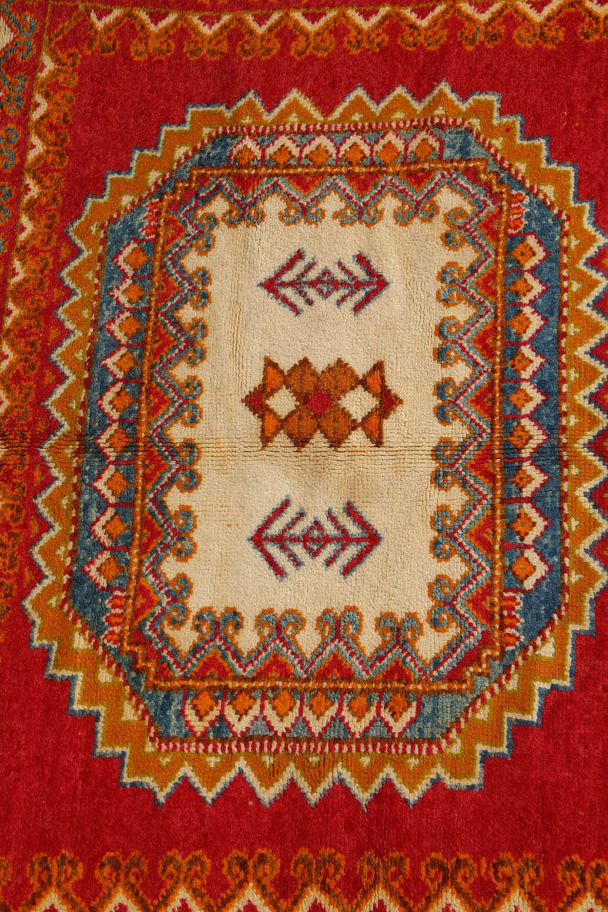 Vintage Moroccan Orange Tribal Rug In Fair Condition For Sale In Los Angeles, CA