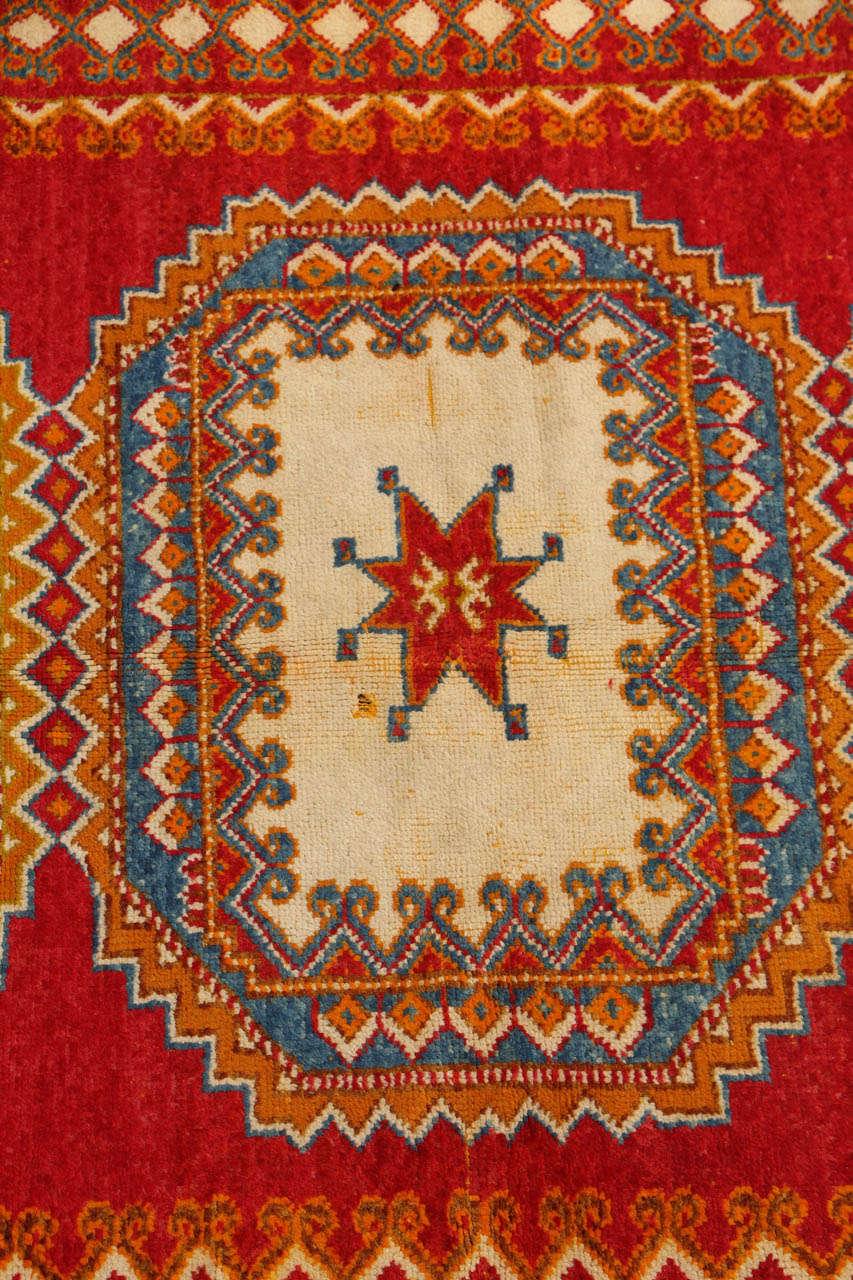 Mid-20th Century Vintage Moroccan Orange Tribal Rug For Sale