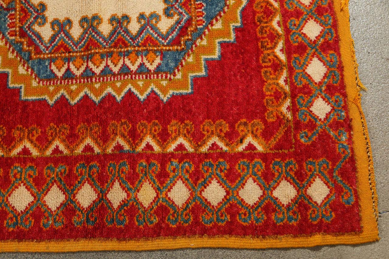 Vintage Moroccan Orange Tribal Rug For Sale 1