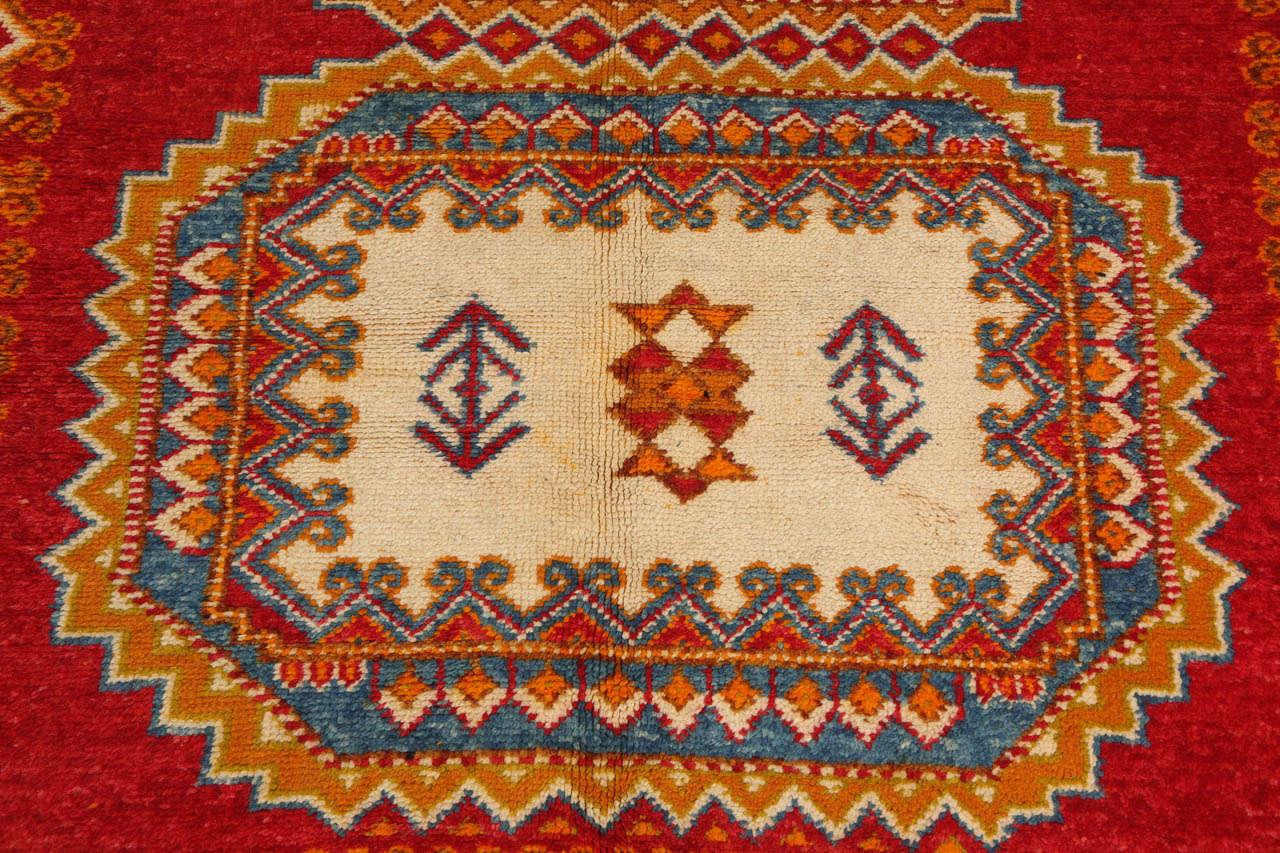 Vintage Moroccan Orange Tribal Rug For Sale 2