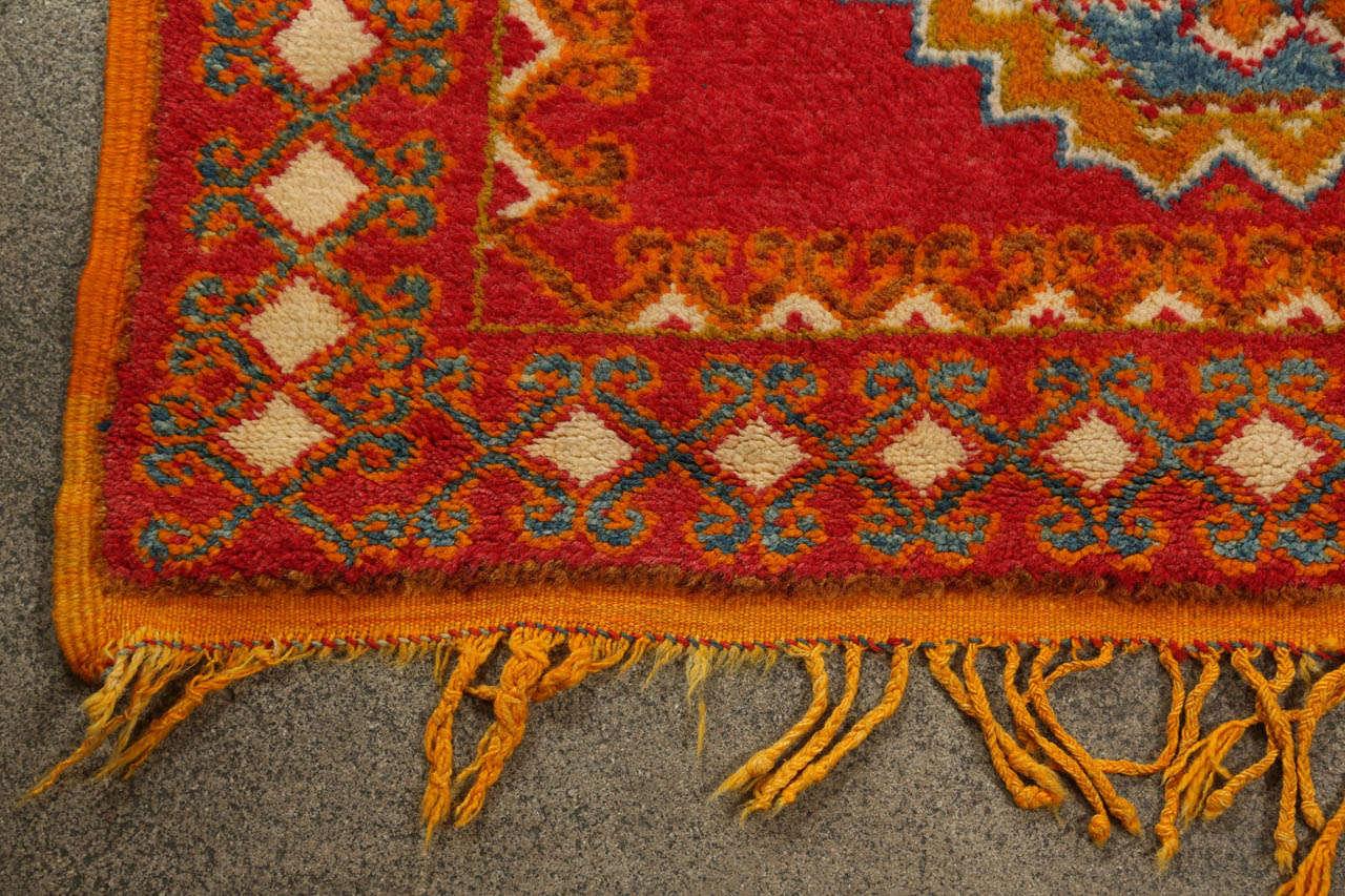 Vintage Moroccan Orange Tribal Rug For Sale 3