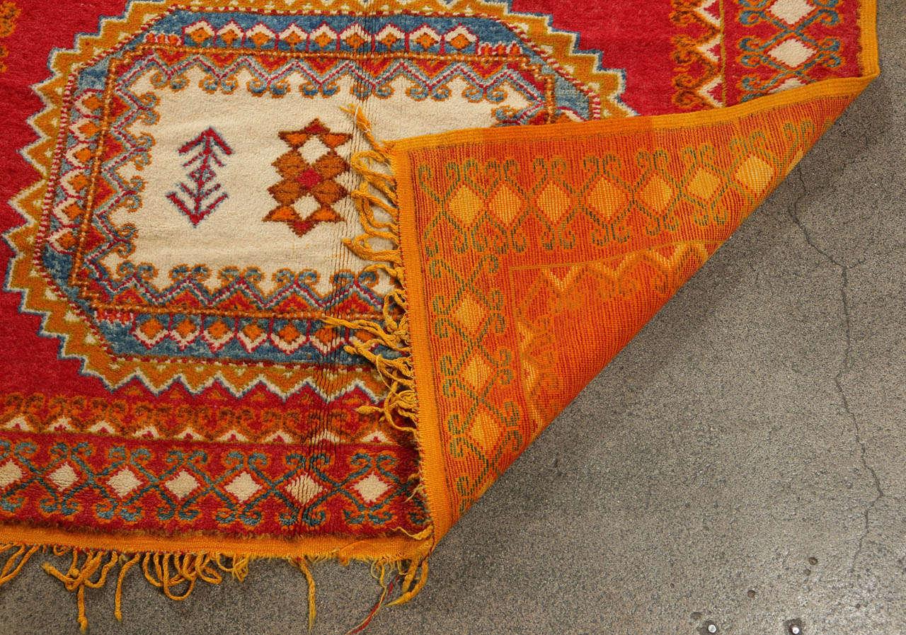Vintage Moroccan Orange Tribal Rug For Sale 4