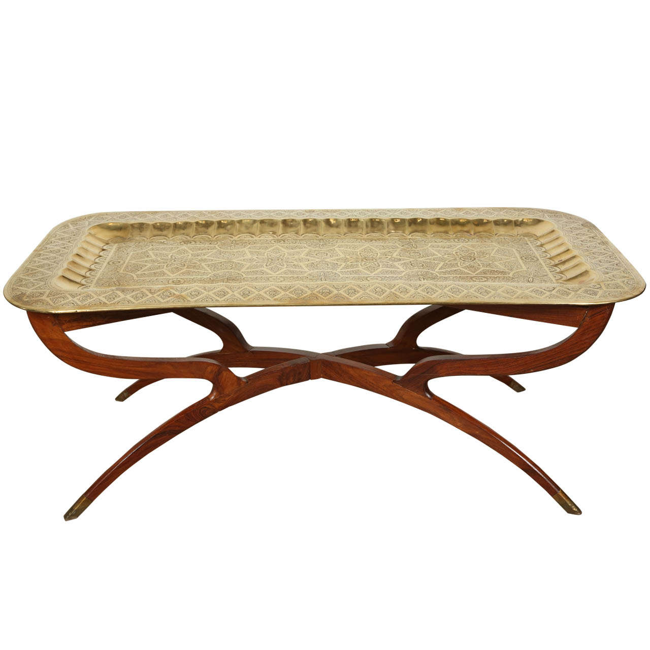 Brass Tray Mid Century Rectangular Coffee Table At 1stdibs
