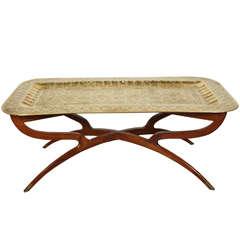 Brass Tray Mid-Century Rectangular Coffee Table