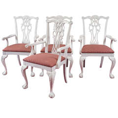 Four Chippendale Revival Dining Armchairs