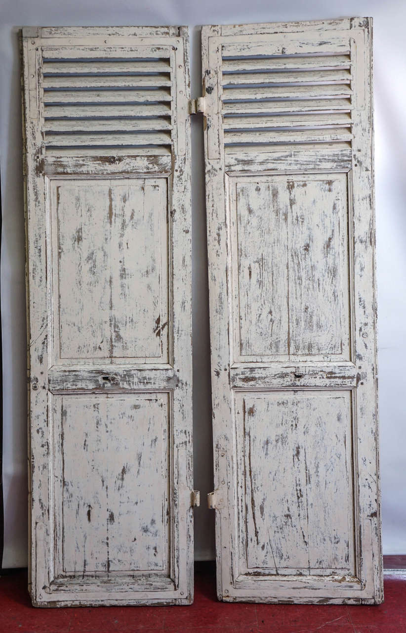 Pair Of Antique French Paneled Louvred Shutter Doors At