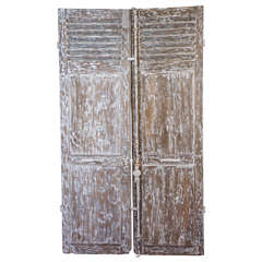 Pair of Antique French Paneled Louvred Shutter Doors