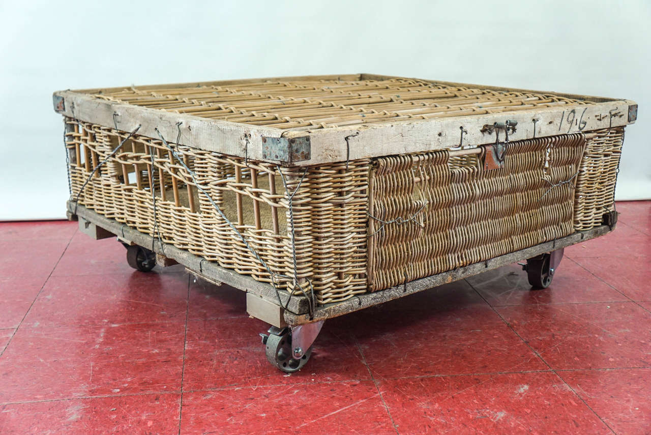 French Pigeon Cage Coffee Table on Wheels at 1stdibs