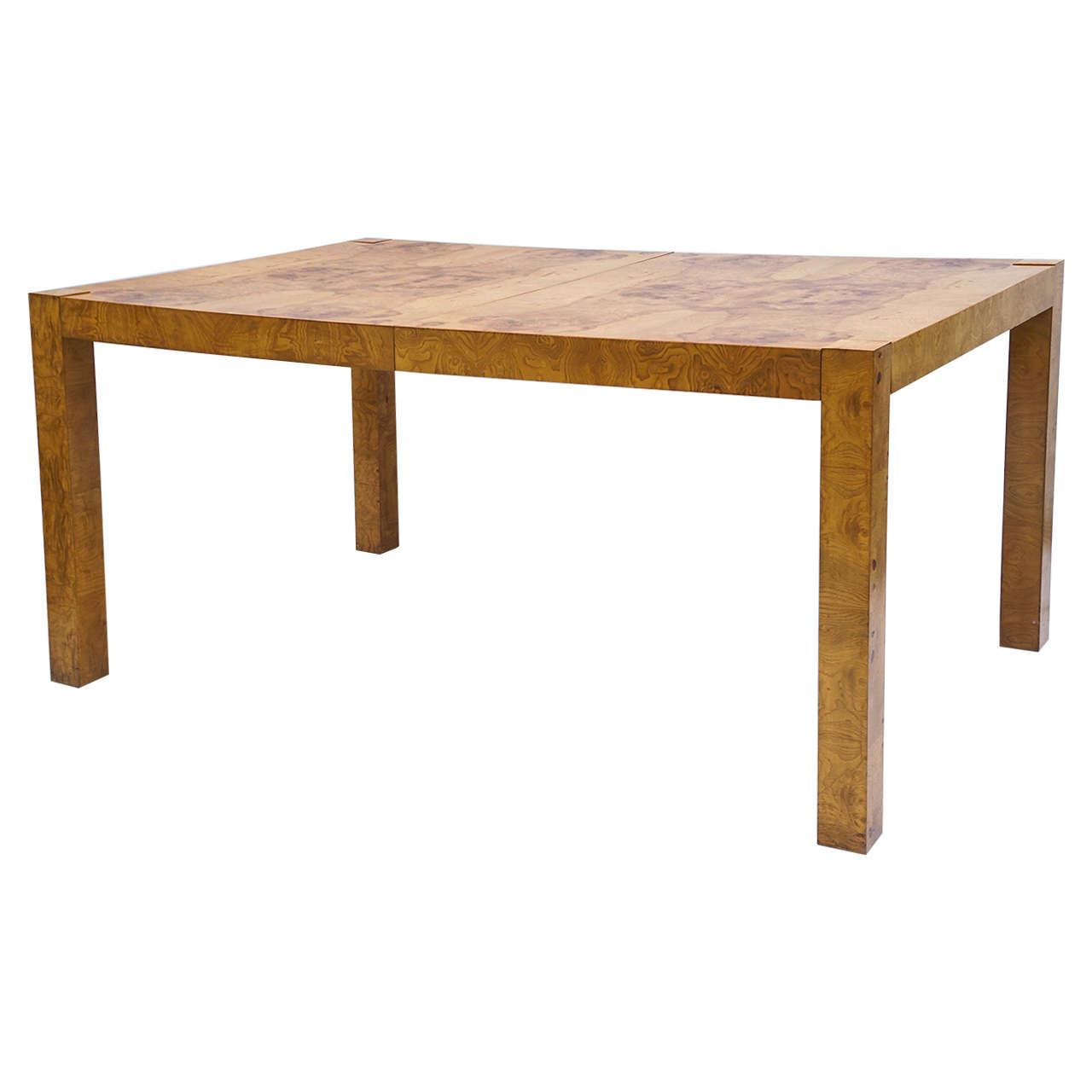 Mid Century Modern Lane Burl Wood Parsons Dining Table By Milo Baughman At 1stdibs