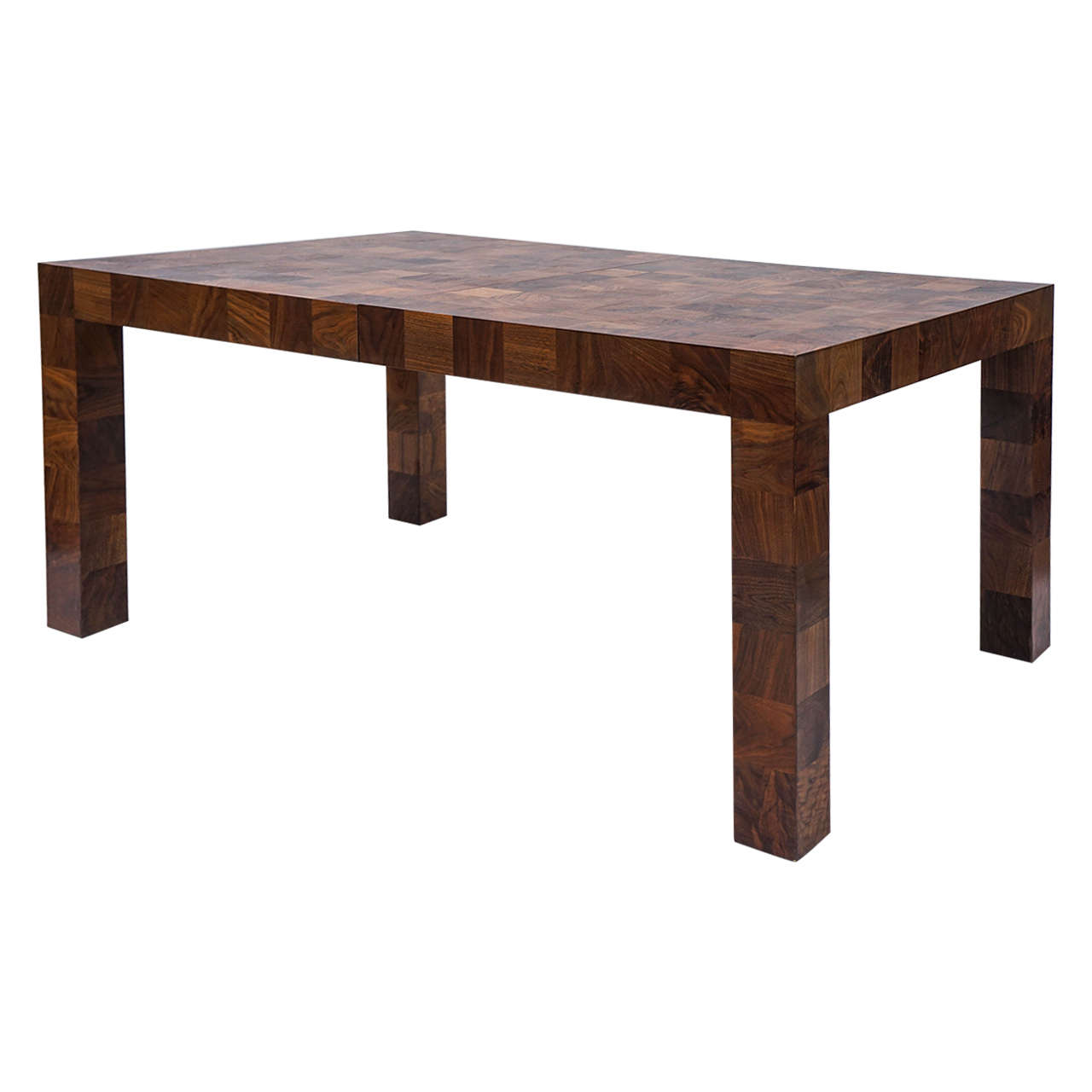 Milo Baughman Patchwork, Burlwood Parsons Dining Table Thayer Coggin.