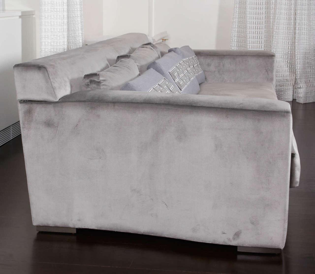 phillipe hurel sofa 39 lila 39 and custom applique pillows for sale at 1stdibs. Black Bedroom Furniture Sets. Home Design Ideas