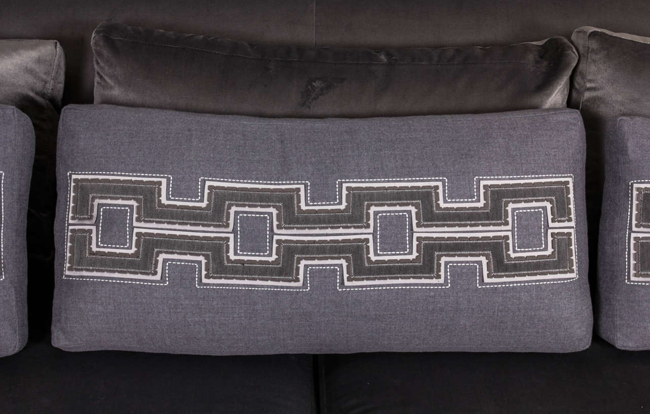 phillipe hurel sofa 39 lila 39 and custom applique pillows. Black Bedroom Furniture Sets. Home Design Ideas