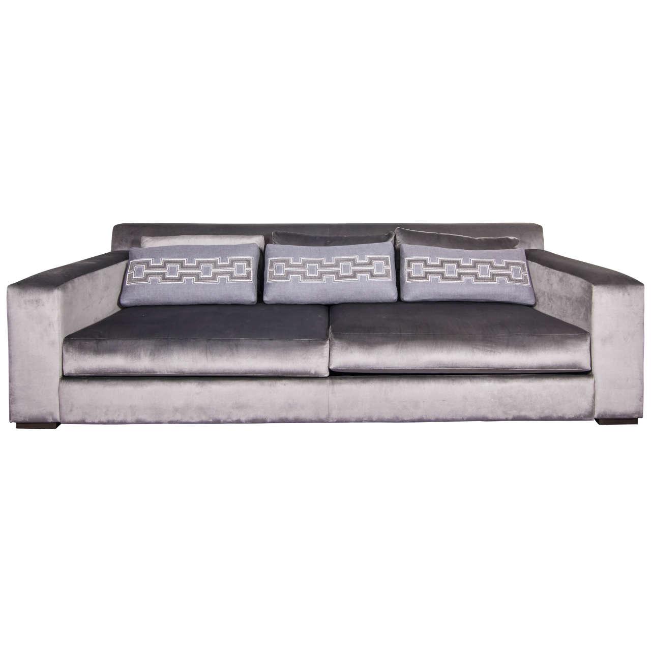 phillipe hurel sofa 39 lila 39 and custom applique pillows at. Black Bedroom Furniture Sets. Home Design Ideas