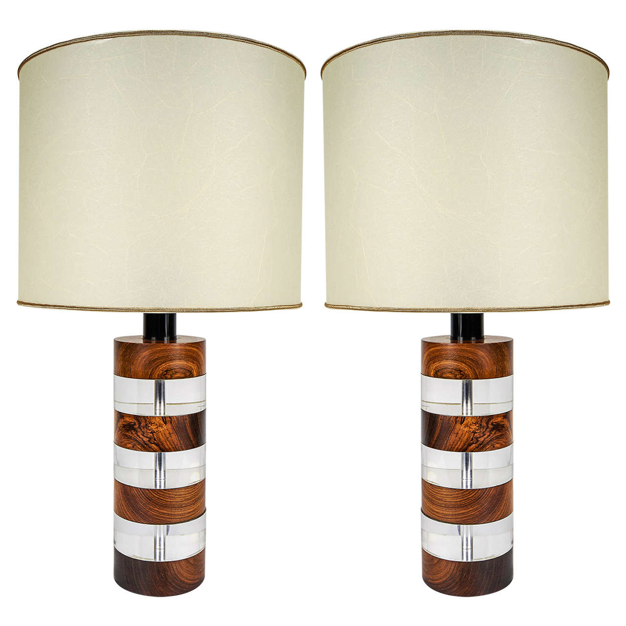 Pair of italian 1960s 1970s wood and lucite table lamps by botta pair of italian 1960s 1970s wood and lucite table lamps by botta firenze 1 geotapseo Images