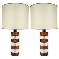 Pair of Italian 1960s-1970s Wood and Lucite Table Lamps by Botta Firenze