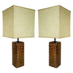 Pair of Stylish Italian 1970s Murano Table Lamps