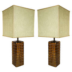 Pair of Stylish Italian 1970s Murano Table Lamps