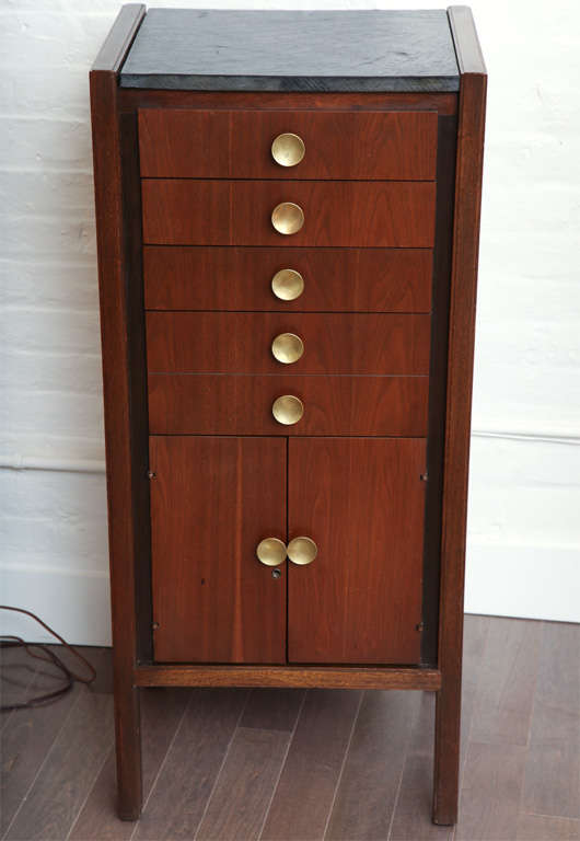 Narrow walnut bureau with large brass hardware c 1960 at for Bureau hardware