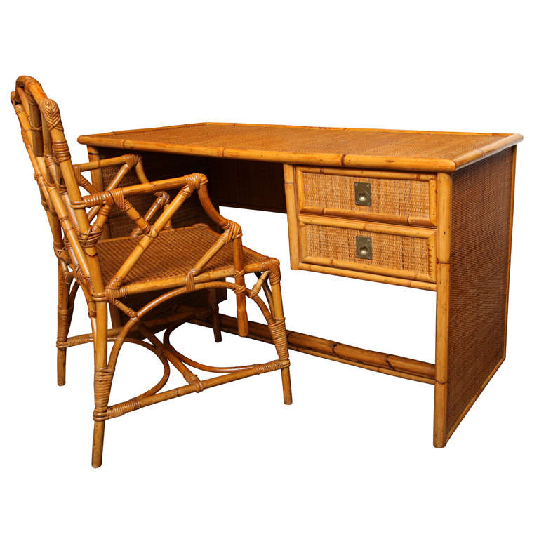 Bamboo And Rattan Desk With Chair Italian C 1960 At 1stdibs