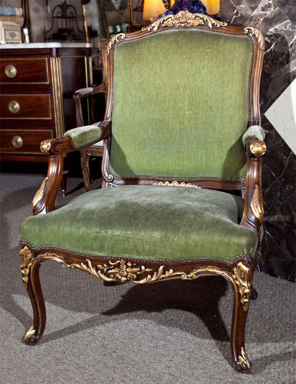 Pair of Walnut Carved Armchairs image 2
