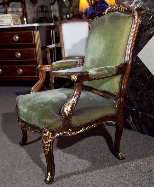 Pair of Walnut Carved Armchairs image 5