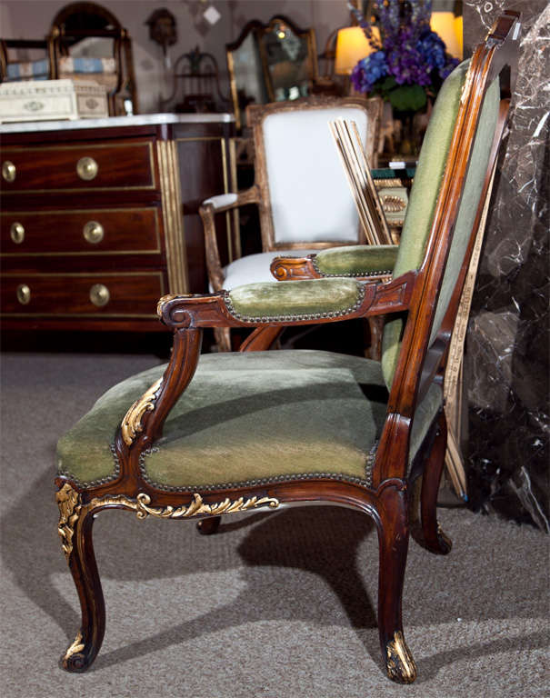 Pair of Walnut Carved Armchairs image 6