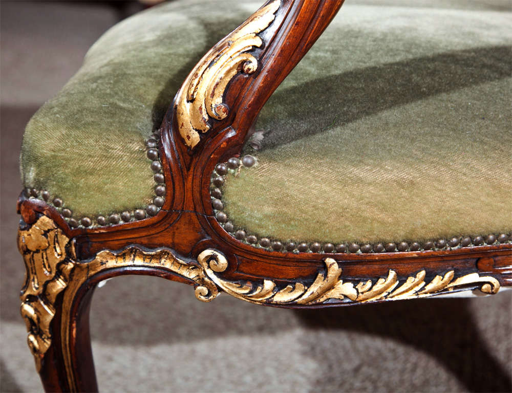 Pair of Walnut Carved Armchairs image 7